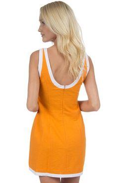 Orange w/ White Trim - The Harper Solid Seersucker Dress With Trim Back
