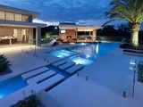 Deck overlapping pool