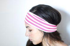 Wideband headband in Maui Pink Stripe for Women + Girls