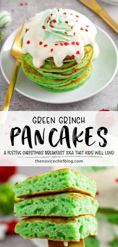 Grinch Pancakes are fun to make with your kids! A batch of this copycat IHOP recipe is easy to whip up at home. Topped with cream cheese icing and green whipped cream, these extra fluffy treats are sprinkled with little hearts for a special Christmas in July breakfast! Christmas Pancakes, Christmas Breakfast, Breakfast For Dinner, Best Breakfast, Christmas Desserts, Brunch Recipes, Breakfast Recipes, Breakfast Ideas, Ihop Food