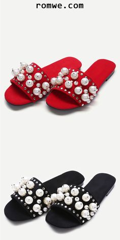 ff0449ec230c2 Open Toe Faux Pearl Inlay Studded Slippers