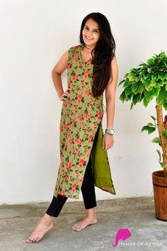 Green Root Overlap Kurti with Cigarette Pants Latest Kurta Designs, Simple Kurta Designs, Stylish Dress Designs, Kurta Designs Women, Salwar Designs, Stylish Dresses, Simple Dresses, Blouse Designs, Casual Indian Fashion