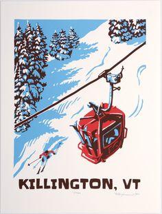 Killington Vt Vermontvintage Ski Posterschristmas