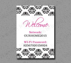 Wi-Fi Password Sign Wi-Fi Password Guests Room by DesignsByTenisha