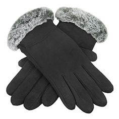 222effc4d7274 Womens Magic Touch Screen Gloves Ladies Girls Suede Leather Thermal Texting  Gloves with Furry Fur Thick Fleece Lined Mittens Winter Warm Touchscreen  Driving ...