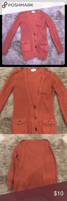Forever 21 Orange Knitted Jacket Orange knitted long jacket with two front pockets Forever 21 Jackets & Coats Pea Coats