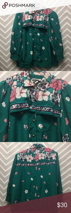 Vintage Floral Button-Up windbreaker style Blouse Awesome vintage floral top. Gold rose buttons. Brand is Jo Hanna York. 100% polyester. Made in USA. Size 18W. Great condition Jackets & Coats