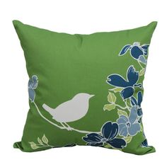 Garden Treasures Green Multi UV-Protected Square Outdoor Decorative Pillow