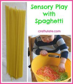 Sensory Play with Spaghetti - Craftulate