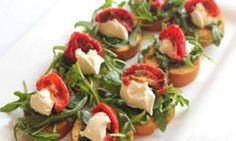 This goats cheese toasts recipe are bite soze canapes. Tangy and Italian flavoured, you can.prepare ingredients ahead and assemble when your guests arrive. Find more on Kidspot New Zealand's recipe finder. Christmas Party Food, Xmas Food, Christmas Eve, Appetizers For Party, Appetizer Recipes, Dinner Recipes, Holiday Recipes, Great Recipes, Christmas Recipes