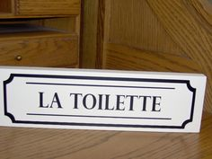 La Toilette Wood Vinyl Sign French Cottage Chic by heartfeltgiver Wood Bathroom, Bathroom Signs, Bathroom Doors, Bathroom Ideas, Directional Signs, Cottage Chic, French Cottage, Chic Bathrooms, Country Bathrooms