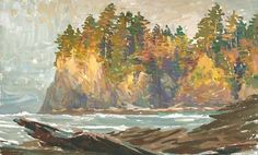 Passing light La Push 7x10 Gouache on watercolor block painted by Mike Hernandez