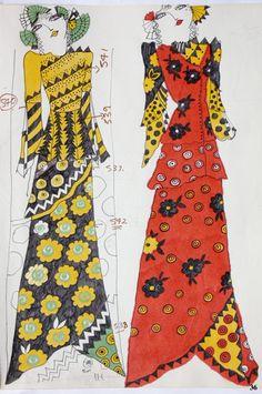 Celia Birtwell via Cassie Stephens 70s Fashion, Vintage Fashion, Seventies Fashion, Fashion Art, Vintage Style, Fashion Illustration Vintage, Fashion Illustrations, Vintage Illustrations, Beauty Illustration