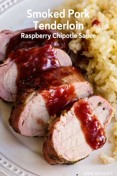 Best Smoked Pork Tenderloin Recipe with Raspberry Chipotle Sauce - This delicious rosemary and thyme pork tenderloin is one of my favorite meals to cook on my smoker. Rosemary Pork Tenderloin, Pork Tenderloin Recipes, Rib Recipes, Real Food Recipes, Healthy Recipes, Smoker Recipes, Smoked Beef Brisket, Smoked Pork, Raspberry Chipotle Sauce