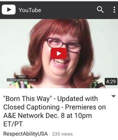 A&E on Dec. 8 @ 10 pm Born this Way Reality Series following adults with intellectual disAbilities & challenges parents, people living with challenges and trying to get independence face https://m.youtube.com/watch?feature=youtu.be&v=tZ-cqDhul9g