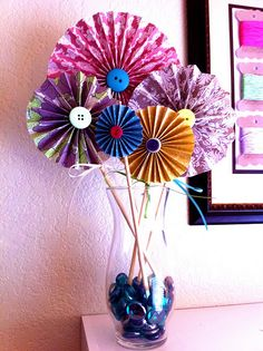 Accordion Folded Paper Button Flowers
