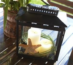 Pottery Barn Lanterns Knock offs with candles.