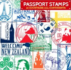 *NEW* JUNE 2014  This is for a set of 26 Passport Stamps from around the world. Altogether there are 52 PNG clip art stamps including the blacklines. There are stamps from countries in EVERY continent except Antarctica. These stamps should also coincide with most of the Christmas and Holidays Around the World activities on TPT.
