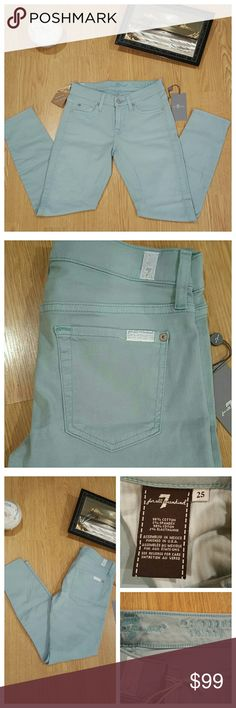 """💗 7 For All Mankind Skinny Jeans💗 New with tags.*  7 for all mankind skinny, cropped jeans. Color is mint aqua (light blue or mint color depending on lighting). 98% Cotton, 2% Spandex. Pockets: 3 front, 2 back.  32"""" Length 7.5"""" Front Rise 13.5"""" Flat Waist 25"""" Inseam 10"""" Leg Opening   *Manufacturer tag in place, retail price tag missing. 7 For All Mankind Pants Skinny"""