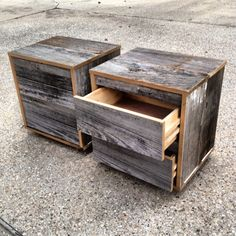 Reclaimed Wood Bedside Table (Grey) on Etsy, $650.00
