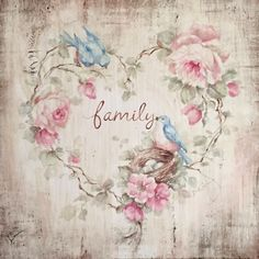 Family Bluebird Roses and Nest Print on Wood Cottage Framed by Debi Coules - Debi Coules Romantic Art Cottage Shabby Chic, Romantic Shabby Chic, Shabby Chic Decor, Wood Cottage, Shabby Bedroom, Decoupage Vintage, Decoupage Paper, Vintage Cards, Vintage Paper