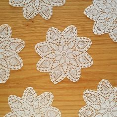 Small crochet doilies 8 pointed star doily beige ecru small