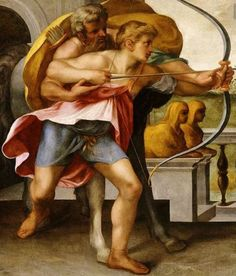 This painting of Achilles and the centaur Chiron by Toussaint Dubreuil from the 1600's shows how Chiron was a mentor to Achilles as a young boy who had lost his mother. Chiron was respected by many families at the time and contributed to the training of Achilles great skills in war.