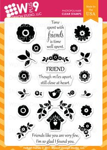 *Wplus9 FOLK ART FLORALS Clear Stamps 93823