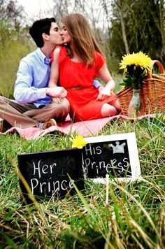 Young Love: Spring couple photo session Props: Picnic basket, quilt, fresh flowers, framed cut sayings ©Amber S. Wallace Photography