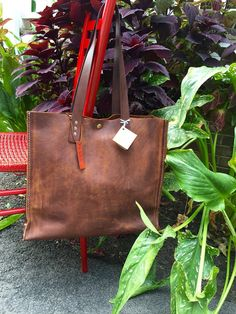 Soft Brown Leather Tote* Leather Tote* Market Bag* Tote* Large Handbag* Purse* BoHo* Handmade in the USA