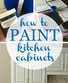 Painted kitchen cabinets are a great way to get an update on a budget. Tutorial for Painting Kitchen Cabinets using DecoArt Chalky Finish paint.