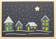 Christmas card with houses in snow by Janelostinideas 2014