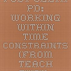 Post-CELTA PD: working within time constraints (from Teach them English)