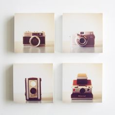 Vintage Cameras  set of 4 photo blocks  room by SusannahTucker, $64.60