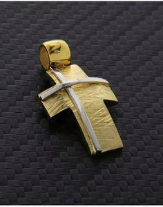 Σταυρός χρυσός & λευκόχρυσος Κ14 Beautiful Rings, Tie Clip, Medieval, Pendant, Accessories, Jewelry, Jewels, Soldering, Minimalist Chic