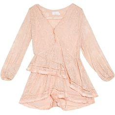 Zimmermann Henna Floating Fringe embroidered playsuit (1.830 BRL) ❤ liked on Polyvore featuring jumpsuits, rompers, zimmermann, pink romper, pink rompers and playsuit romper