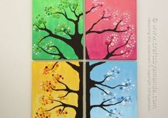 Four Season Button Tree by Amanda Formaro / Crafts by Amanda. This button tree wall art is made from four canvases, paint and colorful buttons. Get step by step instructions so you can make button tree wall art too! Button Tree Art, Button Art, Button Crafts, Button Tree Canvas, Button Bowl, Metal Tree Wall Art, Diy Wall Art, Diy Art, Metal Art