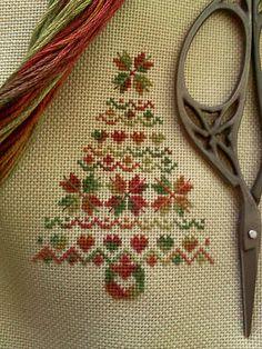 cross stitch fall color heart tree