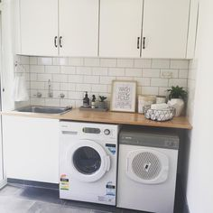 White walls, white subway tiles, wooden benchtop Informations About I… Wooden Benchtop, Laundry In Bathroom, Laundry Mud Room, Kitchen Decor, White Subway Tiles, Black Slate Floor, Wooden Kitchen Storage, Laundry, Basement Design