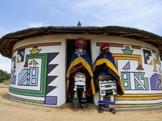 size: Photographic Print: Nbelle (Ndbele) Ladies Outside House, Mabhoko (Weltevre) Nbelle Village, South Africa, Africa by Jane Sweeney : Travel Vernacular Architecture, Art And Architecture, African Hut, Out Of Africa, Thinking Day, African Culture, Tribal Art, Tribal Style, Tribal Prints