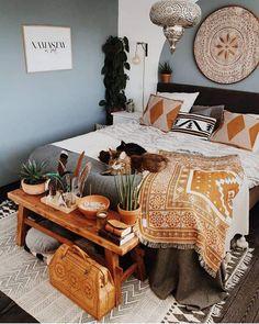 Gypsy Bedroom, Bohemian Bedroom Decor, Decoration Bedroom, Bohemian Style Bedrooms, Hippie Home Decor, Small Room Bedroom, Cozy Bedroom, Living Room Bedroom, Boho Style