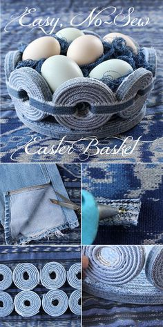 Denim Easter Basket What a cool project! Make this unique denim Easter basket in time for this years festivitiesWhat a cool project! Make this unique denim Easter basket in time for this years festivities Jean Crafts, Denim Crafts, Fabric Crafts, Sewing Crafts, Denim Ideas, Recycled Denim, Easter Baskets, Refashion, Creations