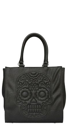 Loungefly Black Floral Skull Tote Bag | Blame Betty