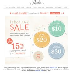 #newsletter Ruche 09.2013 Subject: 15% Off + Last Chance Labor Day Sale
