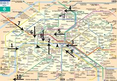 Map of Paris with subway stops