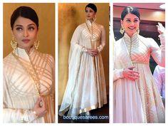 Aishwarya Rai Bacchan in Cream Gold Anarkali Suit by Rohit Bal