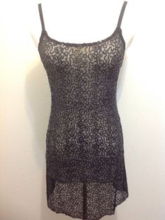 Intimately FREE PEOPLE XS/TP black sequin mesh adjustable strap sexy slip dress #FreePeople #Sexy