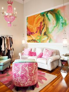 Well if I'm living on my own with no hubs to worry about for a bit why NOT use some hot pink! Go Bold With Hot Pink room by Abbe Fenimore - 20 Living Room Color Palettes You've Never Tried on HGTV by Jeanine Hays Bold Living Room, Eclectic Living Room, Home And Living, Living Spaces, Small Living, Room Colors, House Colors, Hot Pink Room, Deco Addict