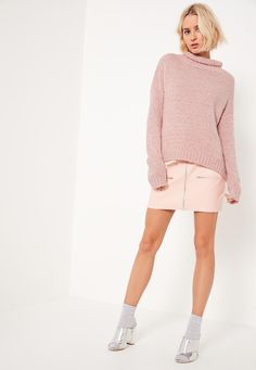Missguided - Pink Cozy Funnel Neck Boucle Sweater