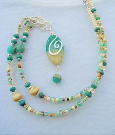 This beaded necklace color combo is so peaceful, reminds me of being at the beach at the ocean.